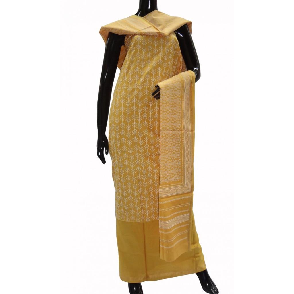 Mango yellow Maheshwari cotton suit