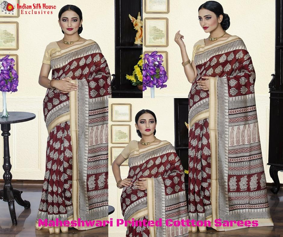 Maheshwari Printed Cotton Sarees