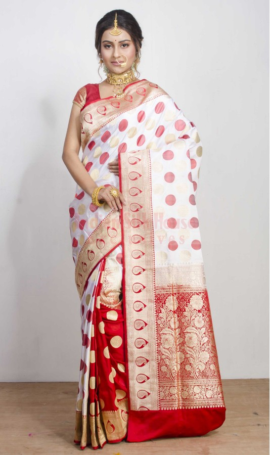 Traditional White & Red Saree for Sindoor Khela